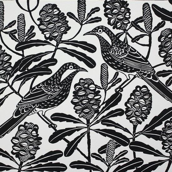 kate-hudson-brush-wattle-birds-and-banksias