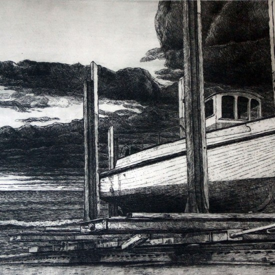 joel-wolter-The-Waiting-Ship_Etching_2013