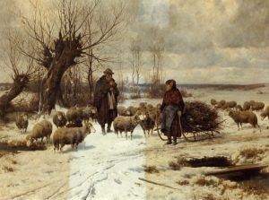 restoration-Winterscene - Man Woman with Sheep Partial Clean