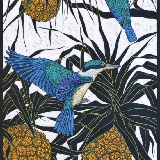sacred-kingfisher-linocut-rachel-newling